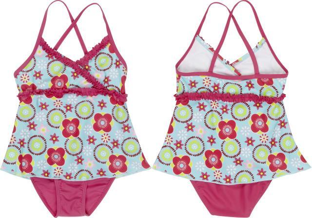 Dětské plavky se sukýnkou - Kytky